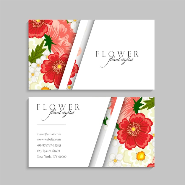 Abstract business cards template with red flowers