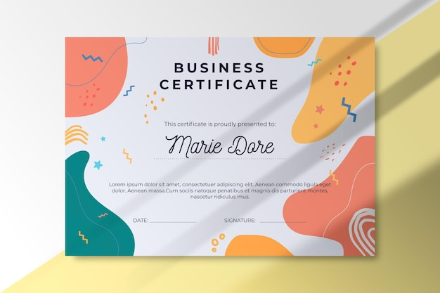 Abstract business certificate template
