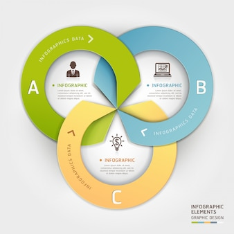 Abstract business circle origami style options infographic.