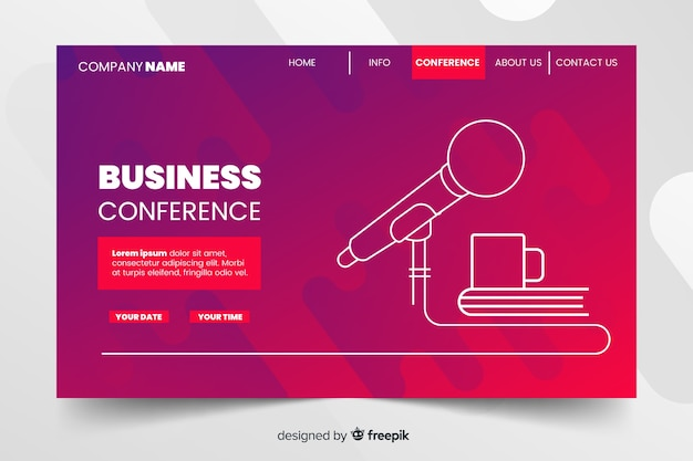 Abstract business conference landing page