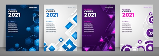 Abstract business cover collection with geometrical shapes