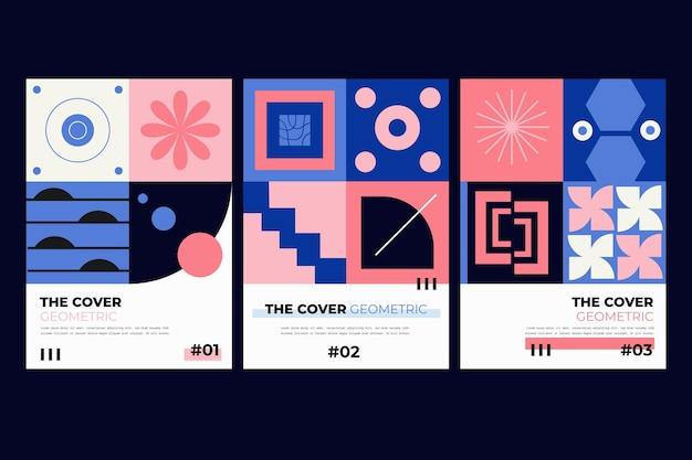 Collezione di copertine aziendali astratte con forme geometriche