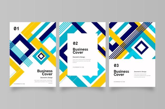 幾何学的な形の抽象的なビジネスカバーコレクション