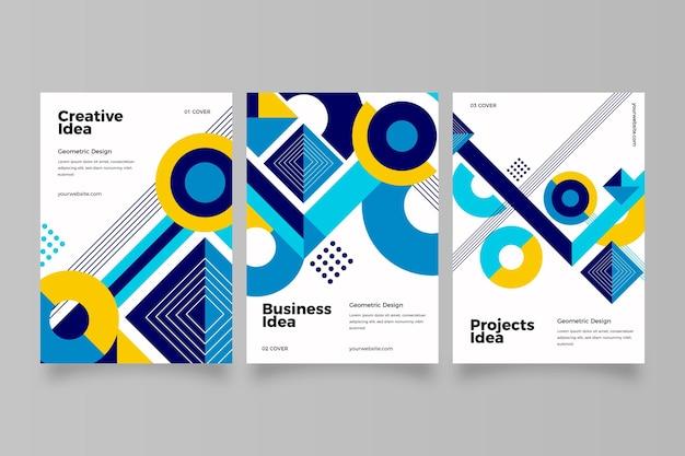 Коллекция абстрактных бизнес-обложек с геометрическими формами