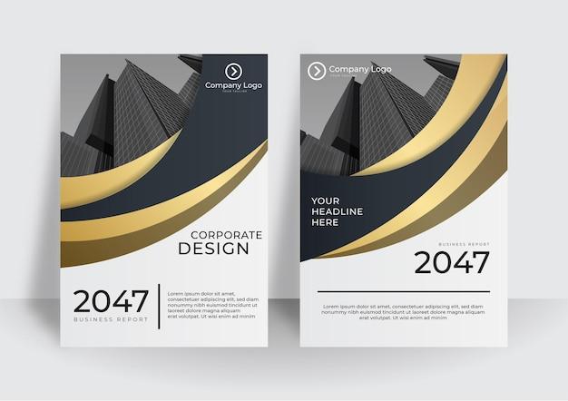 ゴールドとブラックの抽象的なビジネスカバー。コレクションを幾何学的な形でカバーします。グラデーションの抽象的な形はa4サイズのパックをカバーします