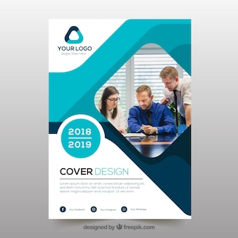 Company profile vectors photos and psd files free download abstract business cover template with photo fbccfo Images