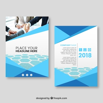Abstract business cover template with photo