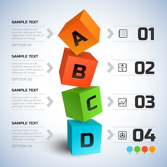 Abstract business cubes infographics