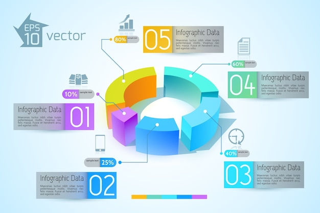 Abstract business diagram infographics with colorful 3d graphs five options text illustration