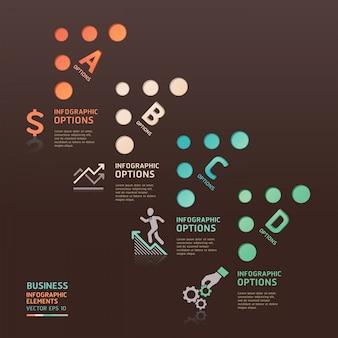抽象的なビジネスドット矢印オプションは、ワークフローのレイアウト、図、番号のオプション、webデザイン、インフォグラフィックに使用できます。