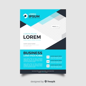 Abstract business flyer template in blue shades