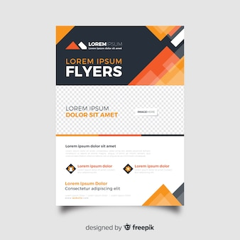 Abstract business flyer template in orange shades
