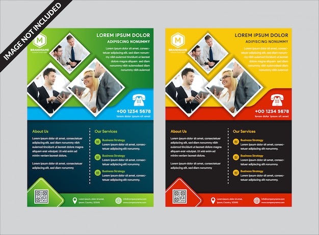 Abstract business flyer template set.