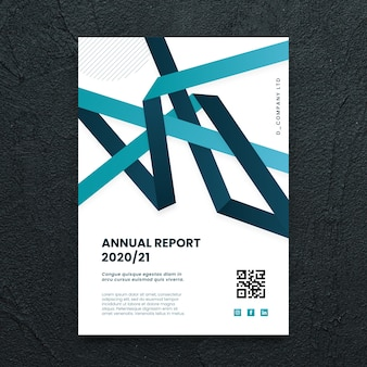 Abstract business flyer template with blue shapes