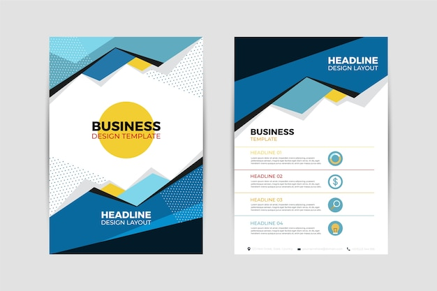 Abstract business flyer template with different shapes
