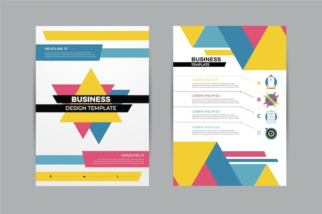 Abstract business flyer template with geometrical shapes