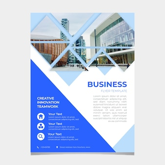 Abstract business flyer template with photo