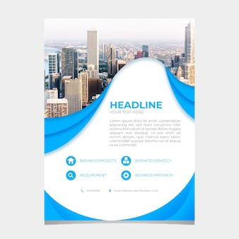 Abstract business flyer template with pic