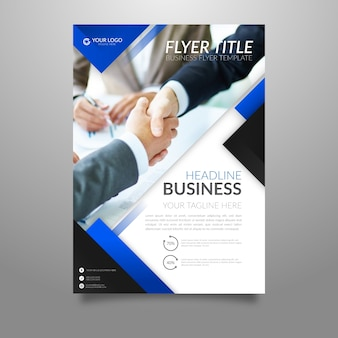 Abstract business flyer template with picture
