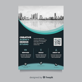Abstract business flyer with city landscape