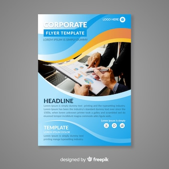 Abstract business flyer with colorful style
