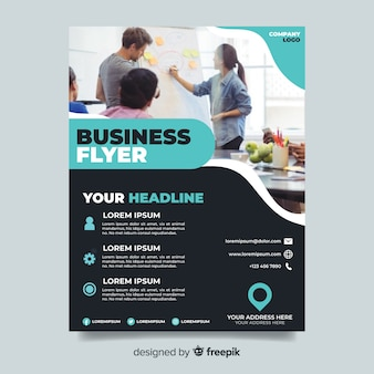 Abstract business flyer with entrepreneurs