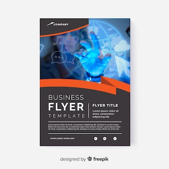 Abstract business flyer with image template