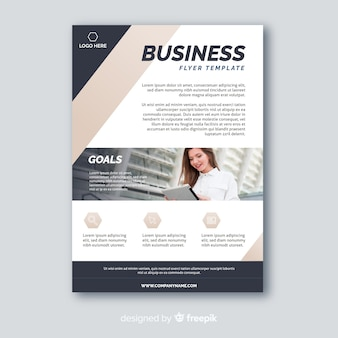 Abstract business flyer with photo template