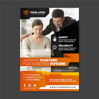 Abstract business flyer with photo
