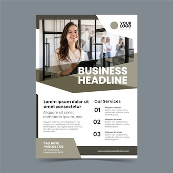 Abstract business flyer with picture