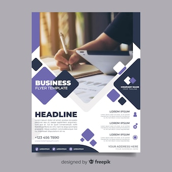 Abstract business flyer with woman writing