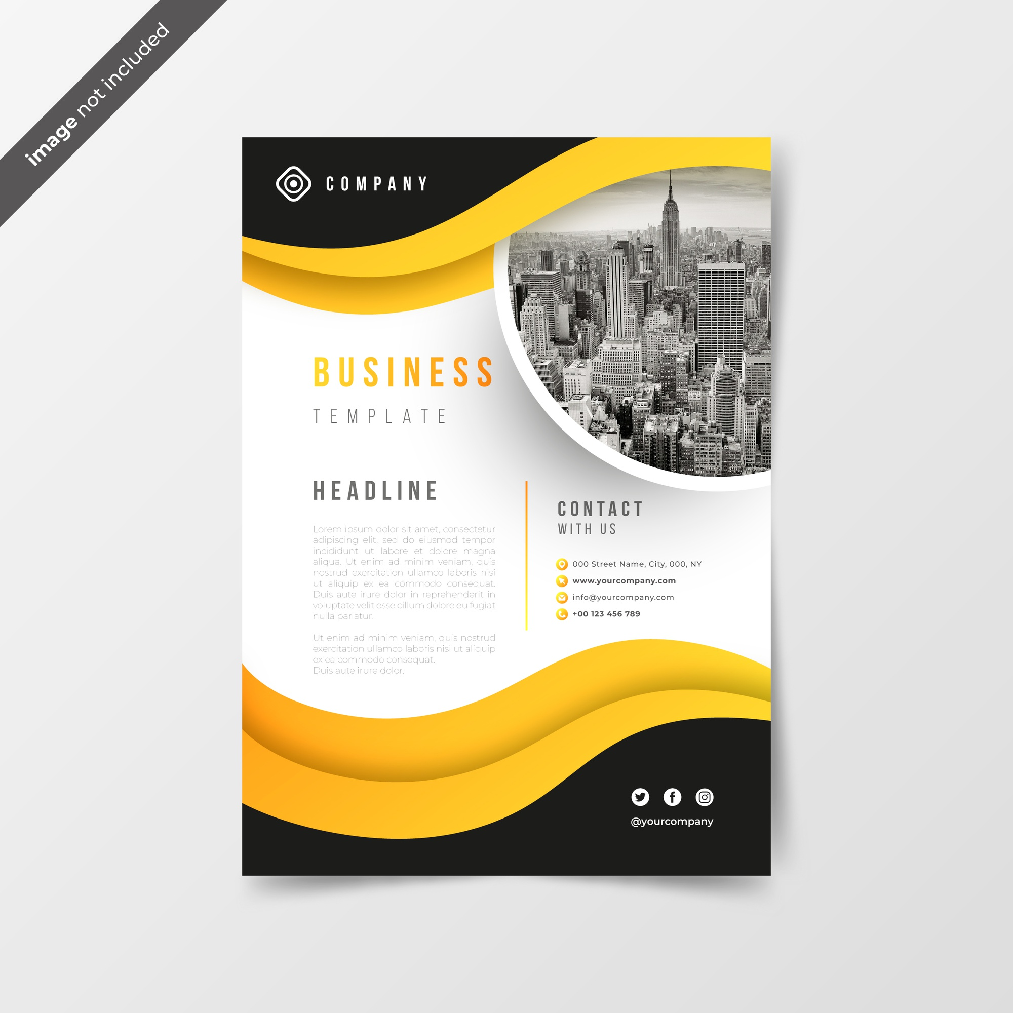 Abstract business flyer with yellow waves