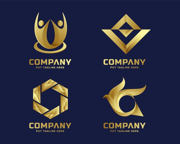 Abstract business golden logo collection for company