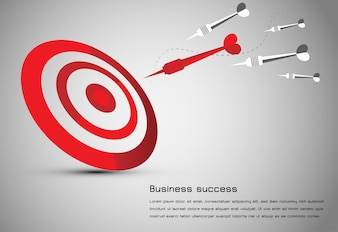 Abstract business idea red dart board