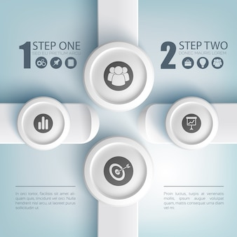 Concetto astratto infographic di affari con le icone di opzioni del testo due sui pulsanti rotondi grigi e sui rettangoli