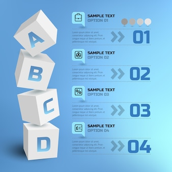 Abstract business infographic with 3d squares