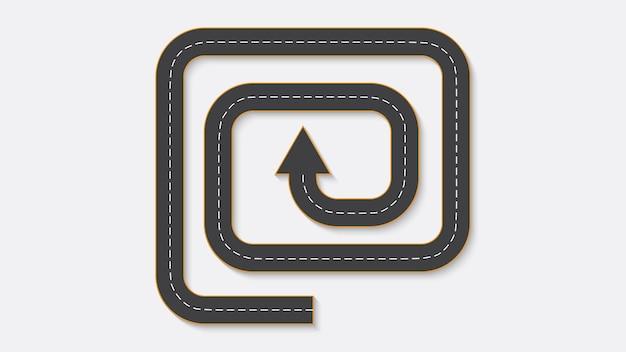 道路標示付きの自動車道路の形で抽象的なビジネスインフォグラフィック。 eps10。 Premiumベクター