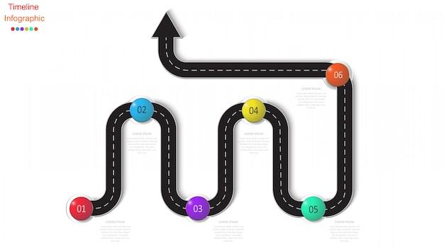 Абстрактная деловая инфографика в форме автомобильной дороги с дорожной разметкой, маркерами, символами и текстом.