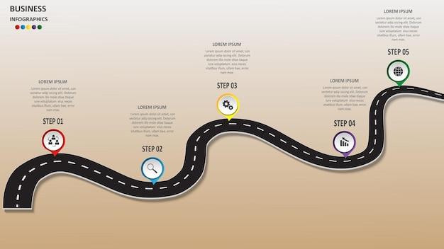 Абстрактная бизнес-инфографика в виде автомобильной дороги с дорожной разметкой, маркерами