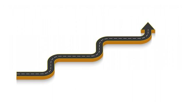 Аннотация бизнес инфографики в виде автомобильной дороги с дорожной разметкой.