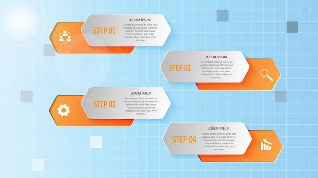 Абстрактная бизнес-инфографика в виде цветных фигур и шагов.