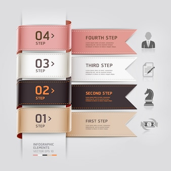 Abstract business infographics template ribbon style can be used for workflow layout, diagram, number options, step up options, web design
