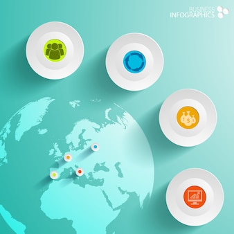 Abstract business infographics with circles and map