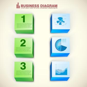 Infographics astratto di affari con il diagramma del diagramma di opzioni dei blocchi tre verdi e blu isolato