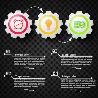 Abstract business infographics with text mechanical gears and colorful icons on black netting illustration