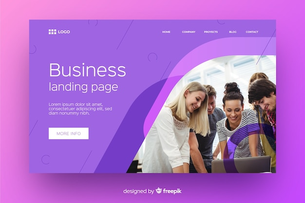 Abstract business landing page with photo