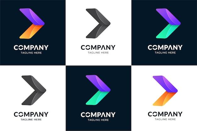 矢印の付いた抽象的なビジネスロゴアイコンデザインテンプレート