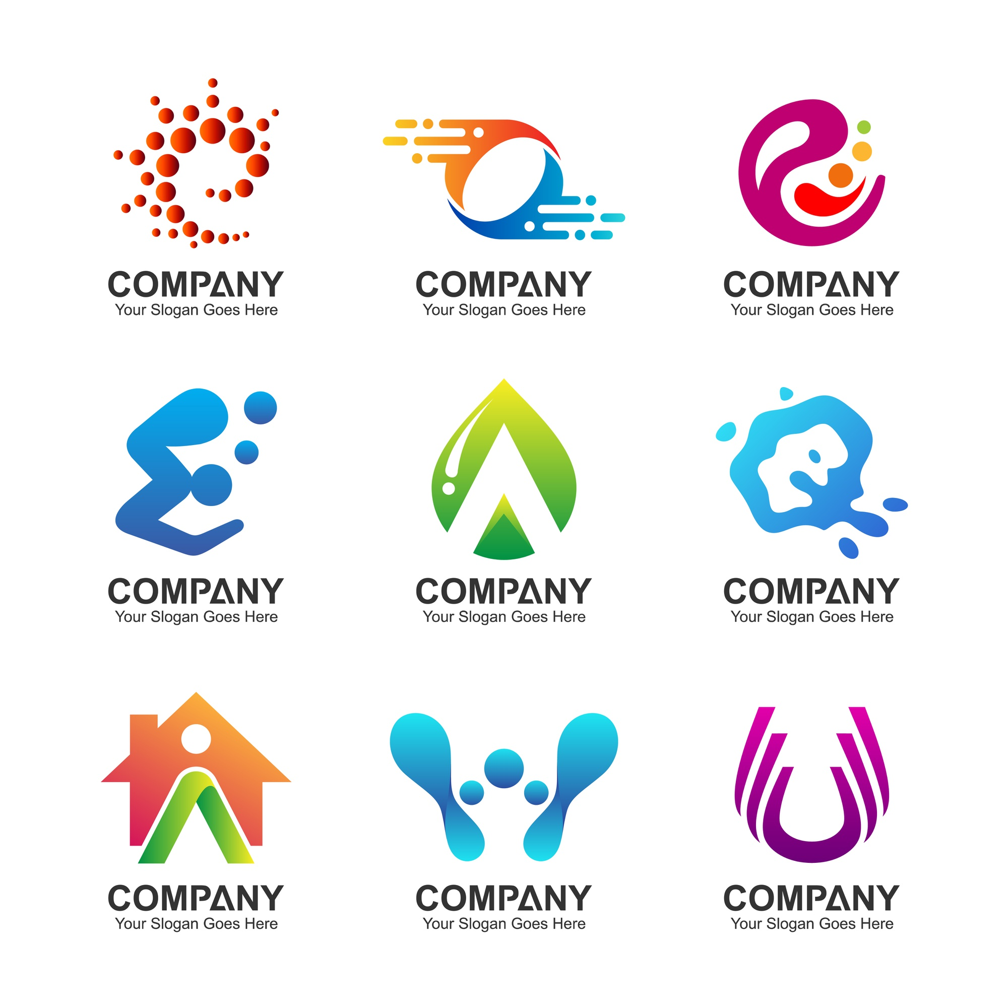 Abstract business logo set, corporate identity icons
