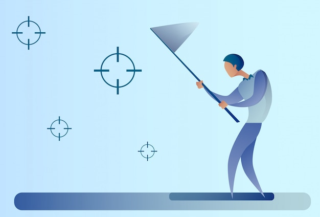 Abstract business man catch targets with butterfly net aim goal concept