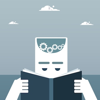 Abstract Business Man Head Reading Book